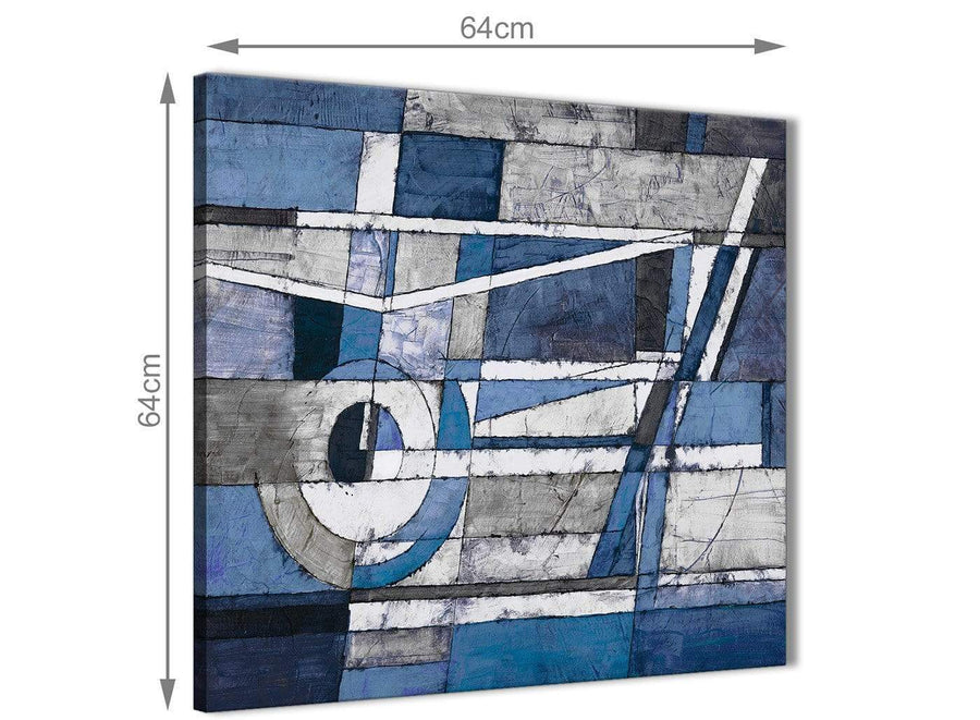 Contemporary Indigo Blue White Painting Living Room Canvas Wall Art Decorations - Abstract 1s404m - 64cm Square Print