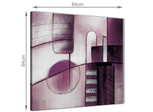 Contemporary Plum Grey Painting Hallway Canvas Pictures Decorations - Abstract 1s420m - 64cm Square Print