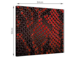 Contemporary Red Snakeskin Animal Print Kitchen Canvas Wall Art Decorations - Abstract 1s476m - 64cm Square Print