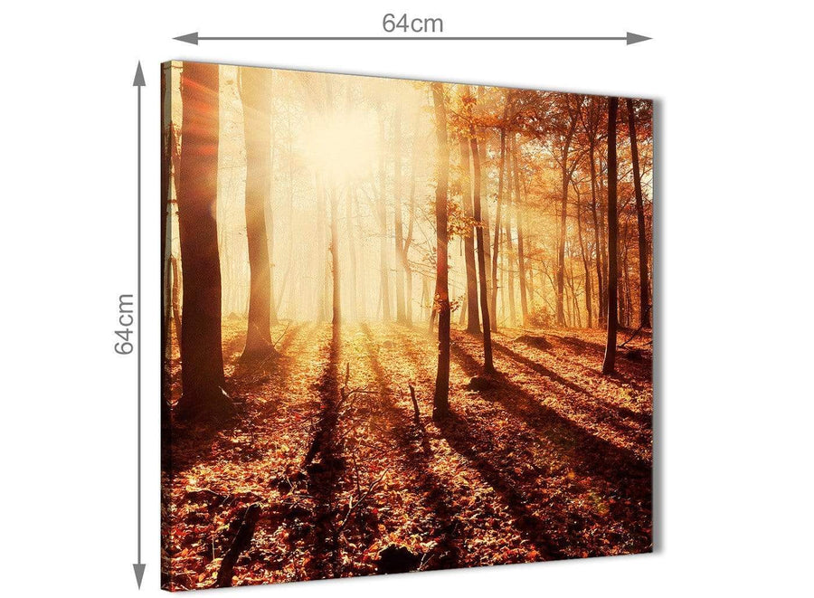Contemporary Trees Canvas Wall Art Autumn Leaves Forest Scenic Landscapes - 1s386m Orange - 64cm Square Picture
