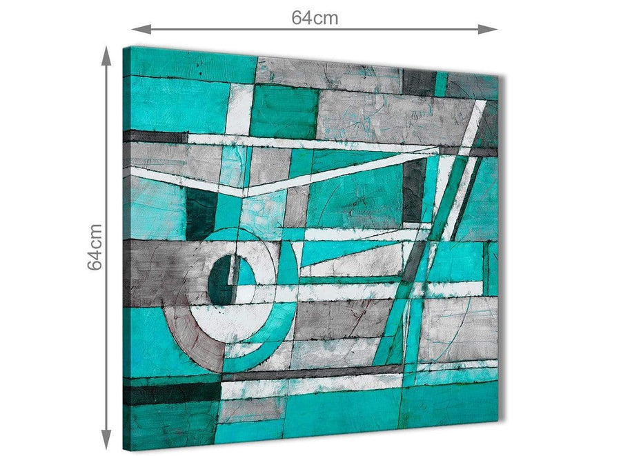 Contemporary Turquoise Grey Painting Living Room Canvas Pictures Decorations - Abstract 1s403m - 64cm Square Print