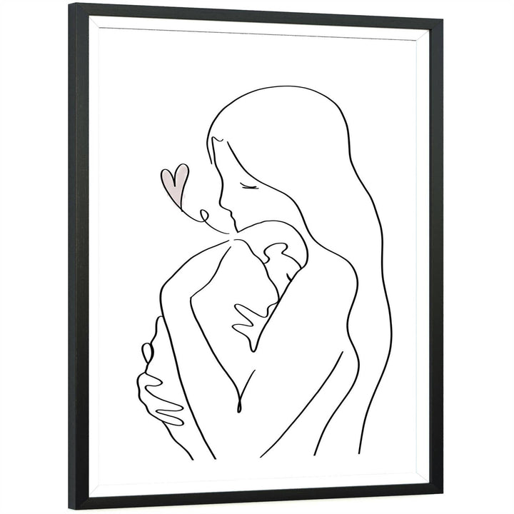 Black and White Mother and Child Framed Wall Art Picture