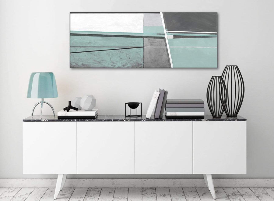Duck Egg Blue Grey Painting Bedroom Canvas Pictures Accessories - Abstract 1396 - 120cm Print
