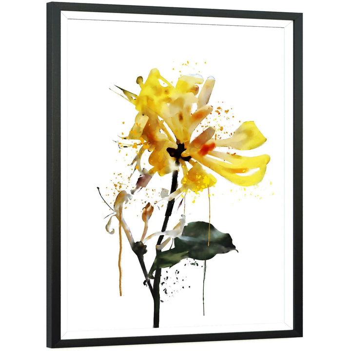 Yellow Black Flower Floral Canvas Wall Art Print