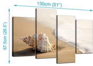 4 Piece Set of Living-Room Beige Canvas Pictures
