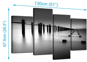 4 Panel Set of Extra-Large Black White Canvas Wall Art