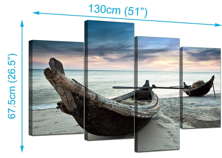 4 Panel Set of Extra-Large Blue Canvas Prints