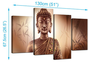 4 Part Set of Living-Room Brown Canvas Wall Art