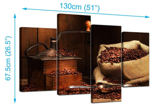 Set Of Four Modern Brown Canvas Picture