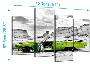 4 Panel Set of Cheap Green Canvas Art