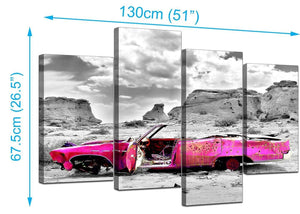 4 Part Set of Extra-Large Pink Canvas Picture