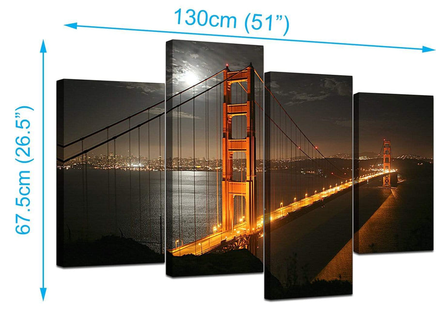 Set Of Four Extra-Large Black White Canvas Picture