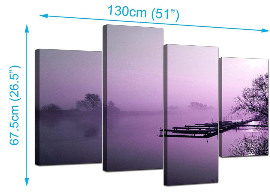 Set Of Four Living-Room Purple Canvas Pictures