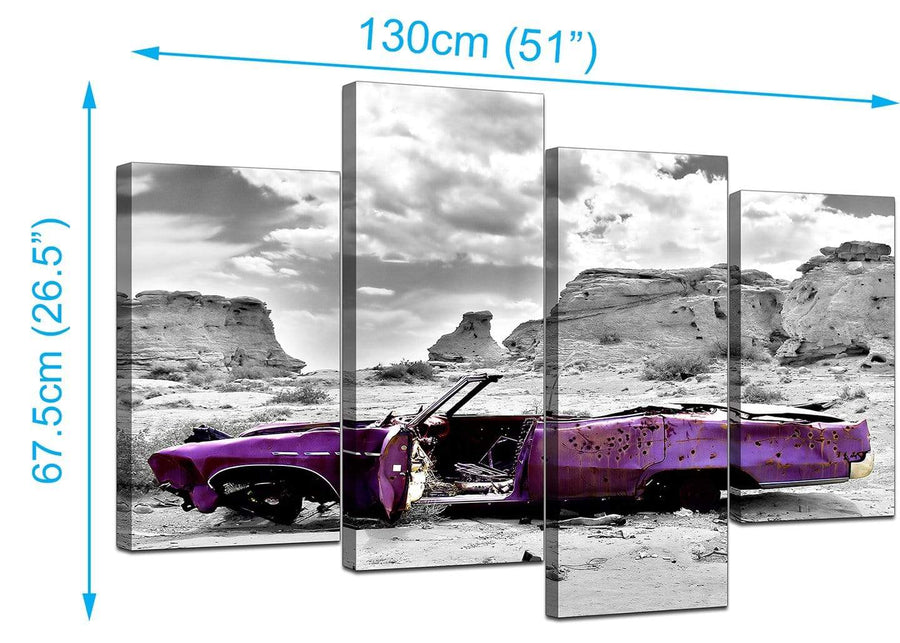 4 Piece Set of Living-Room Purple Canvas Picture