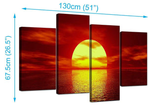Four Part Set of Living-Room Red Canvas Pictures