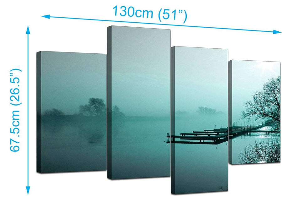 Set Of Four Extra-Large Teal Canvas Picture