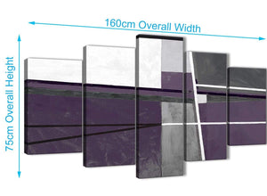 Extra Large 5 Panel Aubergine Grey Painting Abstract Dining Room Canvas Wall Art Decor - 5392 - 160cm XL Set Artwork