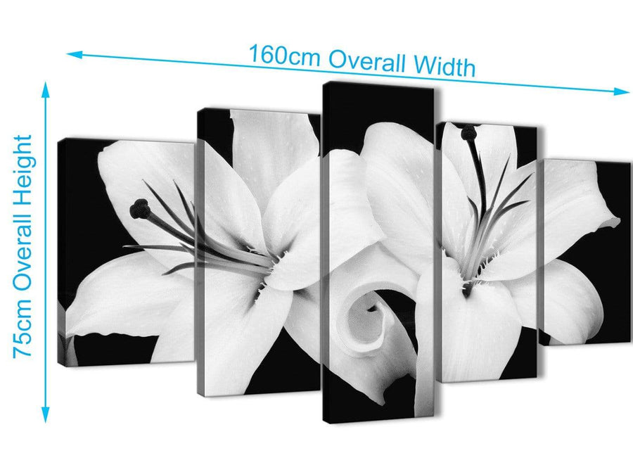 Extra Large 5 Piece Black White Lily Flower Dining Room Canvas Wall Art Decor - 5458 - 160cm XL Set Artwork