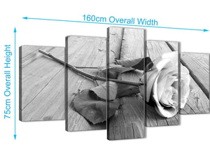 Extra Large 5 Piece Black White Rose Floral Dining Room Canvas Wall Art Decorations - 5372 - 160cm XL Set Artwork