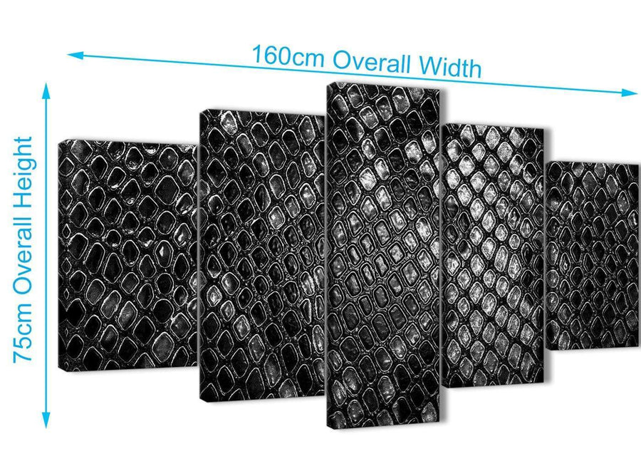 Extra Large 5 Panel Black White Snakeskin Animal Print Abstract Bedroom Canvas Pictures Decor - 5510 - 160cm XL Set Artwork