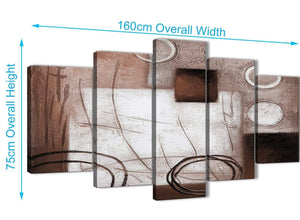 Extra Large 5 Panel Brown White Painting Abstract Office Canvas Pictures Decorations - 5422 - 160cm XL Set Artwork