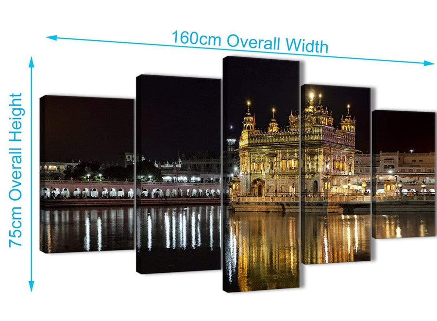 Extra Large 5 Piece Canvas Wall Art Pictures - Sikh Golden Temple Amritsar Night - Canvas - 5195 - 160cm XL Set Artwork