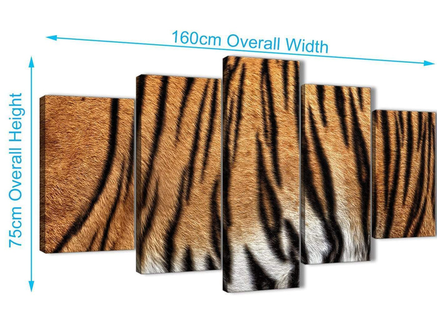 Extra Large 5 Part Canvas Wall Art Pictures - Tiger Animal Print - 5472 - 160cm XL Set Artwork