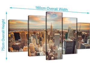 Extra Large 5 Piece Landscape Canvas Wall Art Pictures - New York Skyline Sunset Manhattan Cityscape - 5202 - 160cm XL Set Artwork
