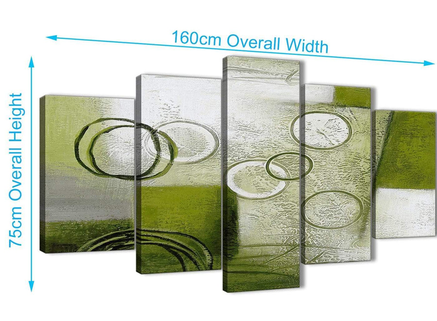 Extra Large 5 Panel Lime Green Painting Abstract Bedroom Canvas Wall Art Decor - 5434 - 160cm XL Set Artwork