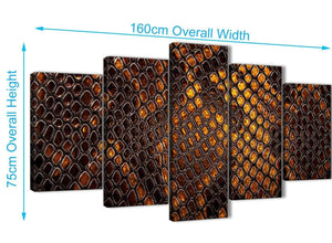 Extra Large 5 Panel Mustard Gold Snakeskin Animal Print Abstract Bedroom Canvas Wall Art Decor - 5474 - 160cm XL Set Artwork
