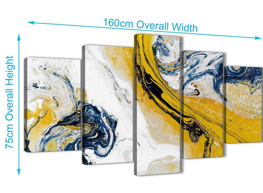 Extra Large 5 Piece Mustard Yellow and Blue Swirl Abstract Bedroom Canvas Wall Art Decor - 5469 - 160cm XL Set Artwork