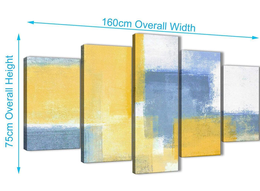 Extra Large 5 Panel Mustard Yellow Blue Abstract Dining Room Canvas Pictures Decor - 5371 - 160cm XL Set Artwork