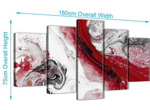 Extra Large 5 Piece Red and Grey Swirl Abstract Bedroom Canvas Wall Art Decor - 5467 - 160cm XL Set Artwork
