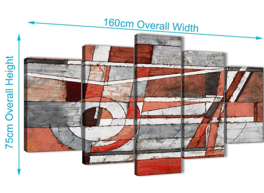 Extra Large 5 Piece Red Grey Painting Abstract Office Canvas Wall Art Decor - 5401 - 160cm XL Set Artwork