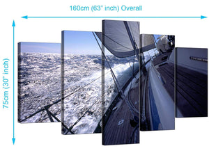 Set Of Five Extra-Large Blue Canvas Pictures