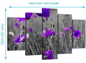 Five Panel Set of Living-Room Purple Canvas Prints
