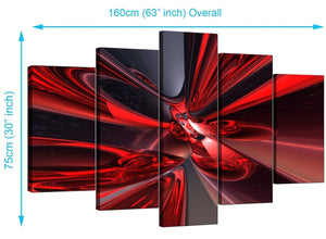 5 Piece Set of Living-Room Red Canvas Art