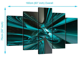 Five Part Set of Extra-Large Teal Canvas Art