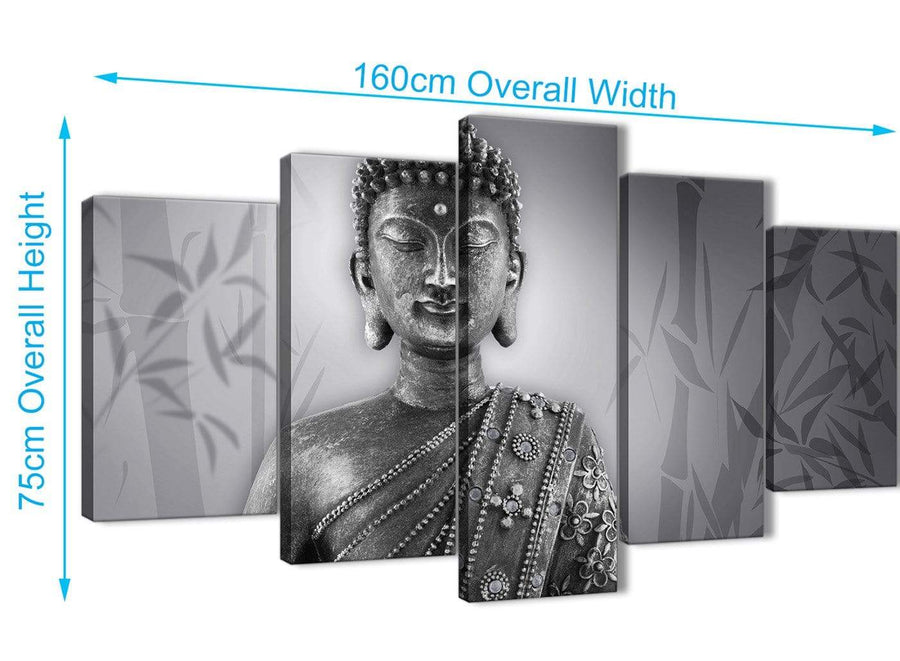Extra Large 5 Panel Black White Buddha Office Canvas Wall Art Decor - 5373 - 160cm XL Set Artwork