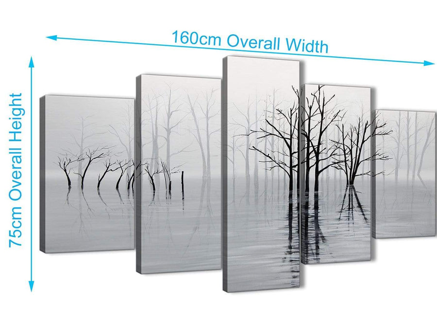 Extra Large 5 Piece Black White Grey Tree Landscape Painting Dining Room Canvas Pictures Decorations - 5416 - 160cm XL Set Artwork