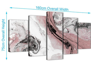 Extra Large 5 Panel Blush Pink and Grey Swirl Abstract Office Canvas Wall Art Decor - 5463 - 160cm XL Set Artwork