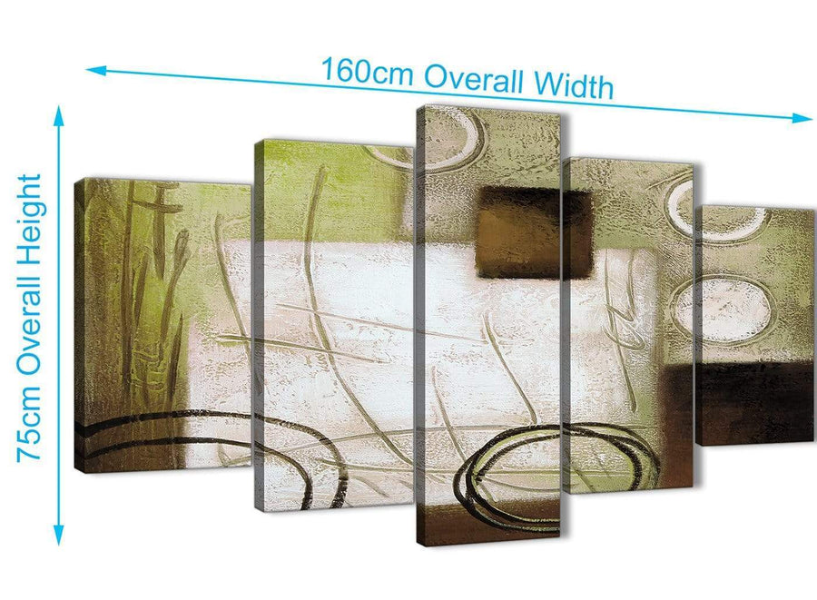 Extra Large 5 Panel Brown Green Painting Abstract Bedroom Canvas Wall Art Decor - 5421 - 160cm XL Set Artwork