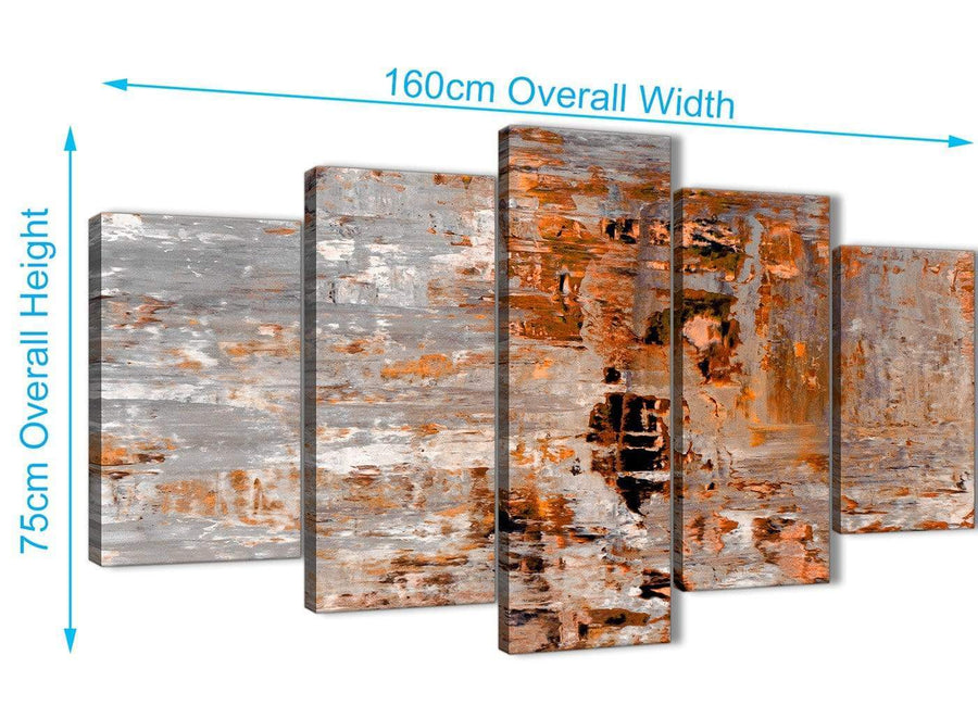 Extra Large 5 Piece Burnt Orange Grey Painting Abstract Living Room Canvas Pictures Decor - 5415 - 160cm XL Set Artwork