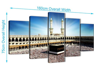 Extra Large 5 Piece Canvas Wall Art Pictures - Islamic Canvas - Hajj Pilgrimage Kaaba - 5191 - 160cm XL Set Artwork