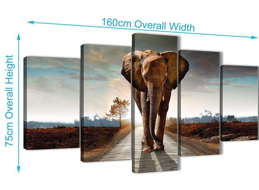 Extra Large 5 Piece Canvas Wall Art Pictures - Modern Elephant Landscape - 5209 - 160cm XL Set Artwork