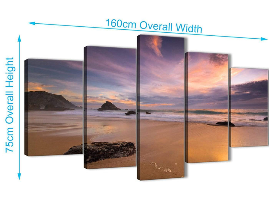 Extra Large 5 Panel Canvas Wall Art Pictures - Panoramic Landscape Beach Sunset - 5198 - 160cm XL Set Artwork