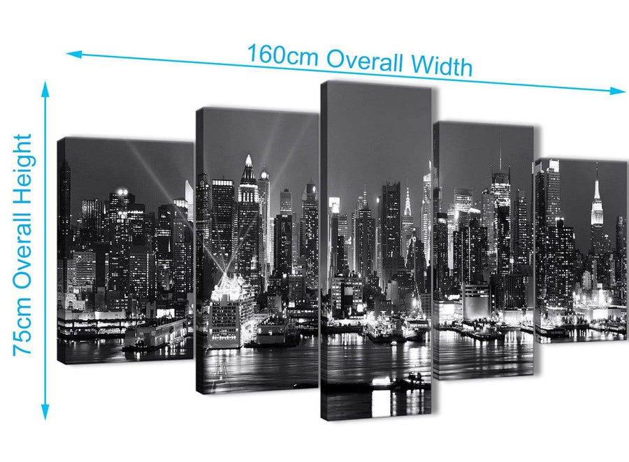 Extra Large 5 Panel Landscape Canvas Wall Art Pictures - New York Hudson River Skyline - 5435 Black White Grey - 160cm XL Set Artwork