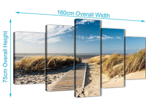 Extra Large 5 Piece Landscape Canvas Wall Art Prints - Pathway to the Ocean - 5197 - 160cm XL Set Artwork