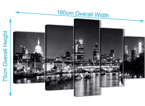 Extra Large 5 Piece Landscape Canvas Wall Art Prints - River Thames Skyline of London - 5430 Black White Grey - 160cm XL Set Artwork