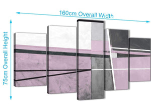 Extra Large 5 Piece Lilac Grey Painting Abstract Living Room Canvas Pictures Decor - 5395 - 160cm XL Set Artwork